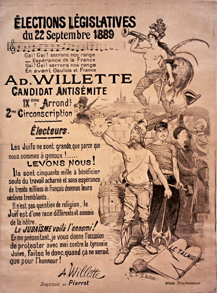 1889_French_election_poster_for_antisemitic_candidate_Adolphe_Willette
