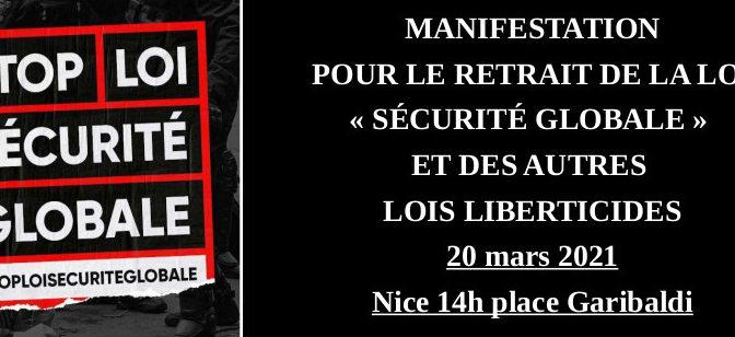 MANIFESTATION POUR LE RETRAIT DE LA LOI « SÉCURITÉ GLOBALE » ET DES AUTRES LOIS LIBERTICIDES