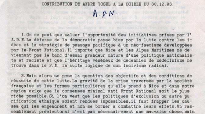 1993 : CONTRIBUTION D'ANDRÉ TOSEL POUR AdN